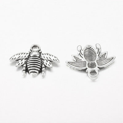 20pcs Antique Silver Tibetan Style Bee Pendant Charms Lead Free and Cadmium Free