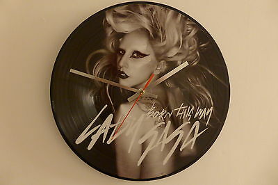 "Lady Gaga - Born This Way - 12"" Picture Disc Clock - Vinyl Record Clock"