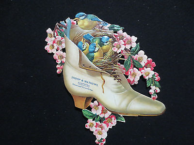 Shoop&mathews Wauseon Ohio Advertising Diecut Shoe W/bluebirds And Flowers Rare