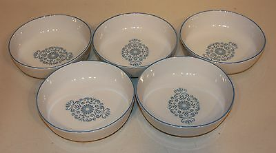 5 Franciscan Family China Interpace USA Medallion Blue 6 Inch Soup Cereal Bowls