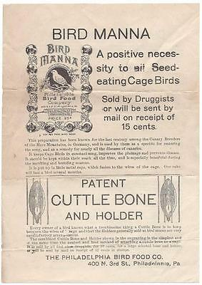 Bird Manna & Cuttle Bone Advertisement - Philadelphia Bird Food Co. Canary Quack