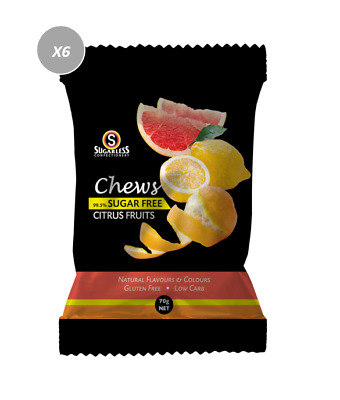 901887 4 x 70g BAGS OF CHEWS CITRUS FRUITS - 99.5% SUGAR FREE, GLUTEN FREE