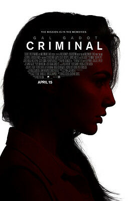 Criminal Gal Gadot Original Movie Poster Double Sided 27x40