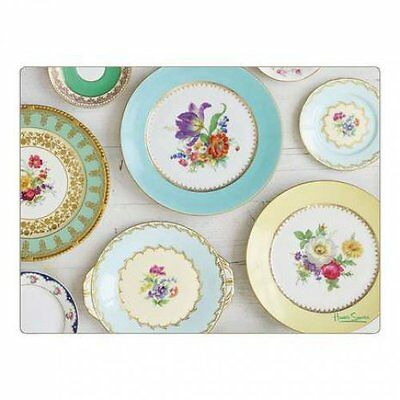 Vintage Floral Plates Placemats Kitchen Food Serving Dinning Mats Set Of 4