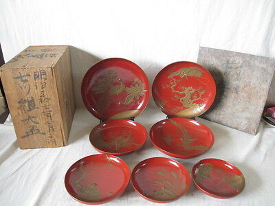 RARE Japanese old wooden RED lacquer ware SAKE 7p cup gold MAKIE 7 birds meiji