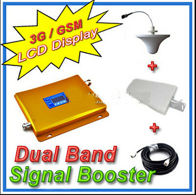 LCD Display 3G W-CDMA 2100MHz + GSM 900Mhz Dual Band Mobile Phone Signal Booster