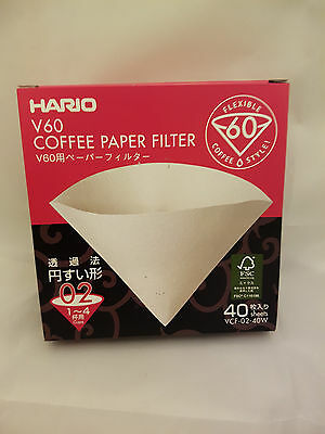 Hario V60 Coffee Drip Paper Filter 1-4 cup 40 pack Dripper Brewer VCF-02-40W