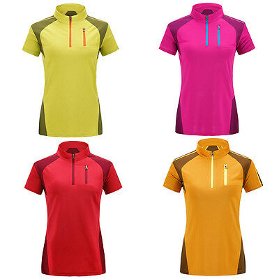 Women Short Sleeve Collar Casual Polo Shirts Ourdoor Hiking Overalls Blouse Tops