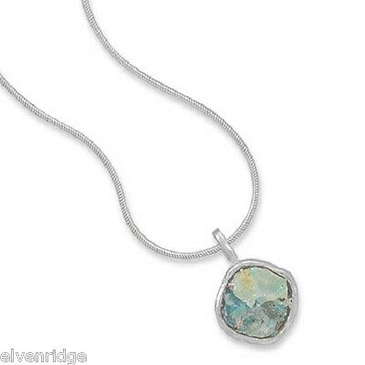 """16.5"""" Ancient Roman Glass Necklace Sterling Silver"""