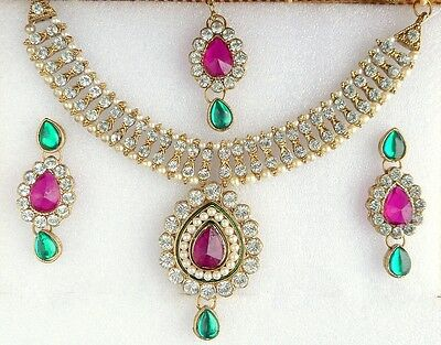 Indian Ethnic Bollywood Gold Plated Pearls Green Jewelry Necklace Earrings Set