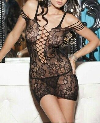 Sexy Lingerie Intimo Donna Bodystocking Nero Catsuit Calze Rete Collant Body