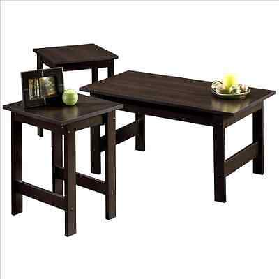 3 Piece Coffee Table Set 2 End Tables Wood Cherry Living Room Furniture No Tax