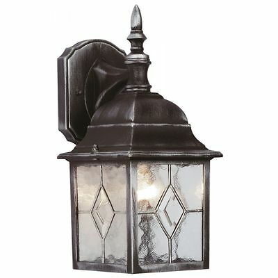 Leaded Effect 4 Sided Lantern Traditional Wall Lantern Black/Silver Finish