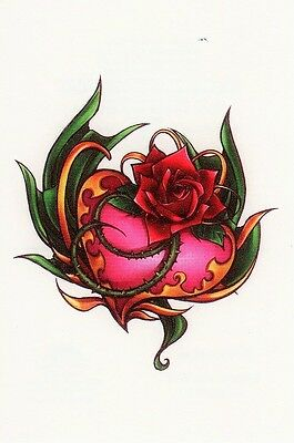 Temporary Tattoo, Tattoo Mix 1-10, Herz mit Rose