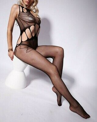 Sexy Intimo Donna Bodystocking Nero Catsuit Collant Lingerie Body No Calze Oixex