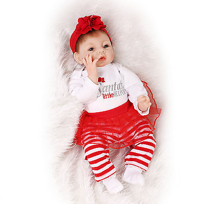 Nicery Reborn Baby Doll Soft Silicone Girl Toy 22in. 55cm Red Santa Dress