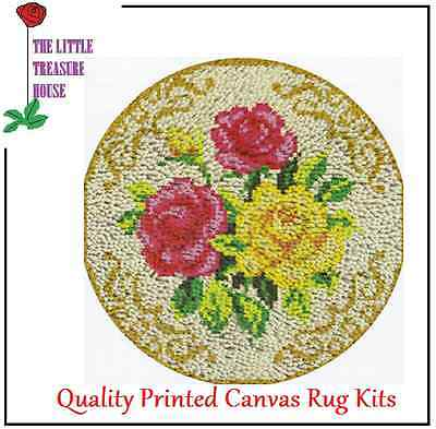 Triple Rose Printed Canvas Latch Hook Rug Kit - Rug Making 52cm X 52cm