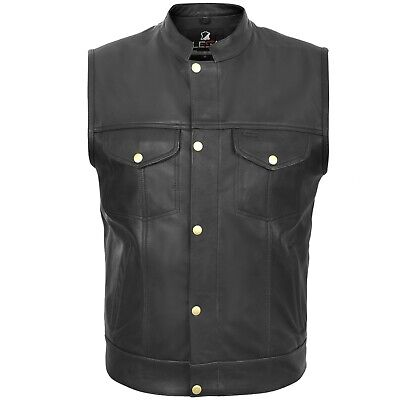 Motorcycle Motorbike Cut Off Vest Chrome Leather Biker Sons of Anarchy Style