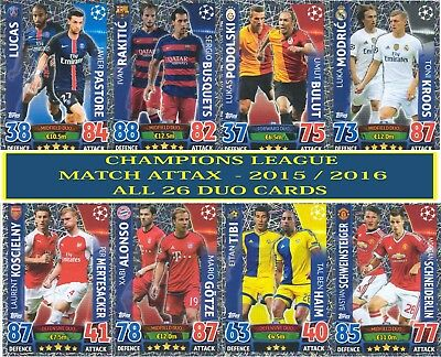 Topps Champions League Match Attax 2015 2016 15/16 Full Set Of 26 Duo Cards