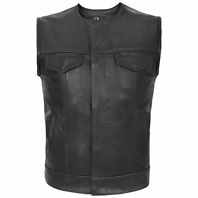 Motorcycle Motorbike Cut Off Vest With Chrome Leather Biker Sons of Anarchy Styl