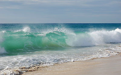 Framed Print - Tropical Ocean Waves Spilling on the Beach (Picture Poster Art)