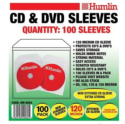 100 Humlin High Quality 120 Micron clear plastic CD DVD sleeves Side STITCH