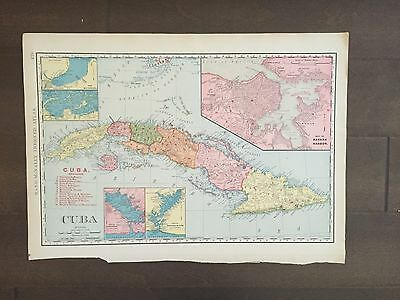 "Large 21"" X 14"" COLOR Rand McNally Map of Cuba-1905"