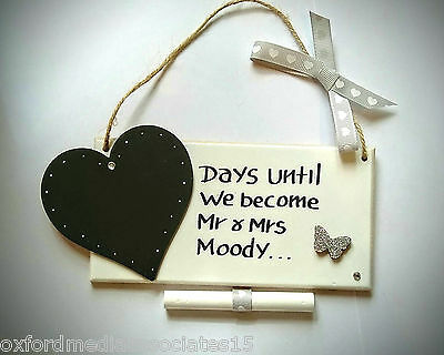 Wedding Engagement Wooden Hand Made Personalised Countdown Plaque Mr & Mrs