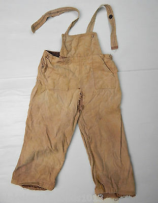 1940's Barn Find Child's Kids Corduroy Overall's Suspenders Waist Distressed