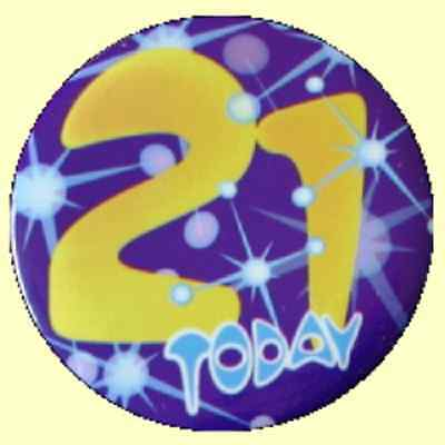 Expression 21 Today Happy 21st Birthday Blue & Yellow Badge 55mm Diameter