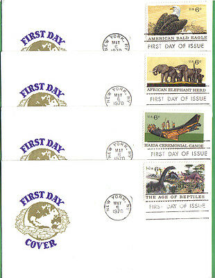 Us Fdcs 1970 Natural History 6C Stamps #1387-90 First Day Of Issue Covers