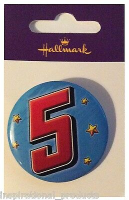 Hallmark I AM 5 TODAY Happy 5th Birthday Badge Boy Blue 45mm Diameter