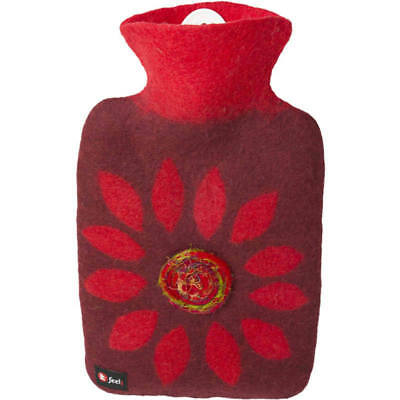 Hugo Frosch Hot Water Bottle Luxury With Felt Cover Red Flower 1.8L