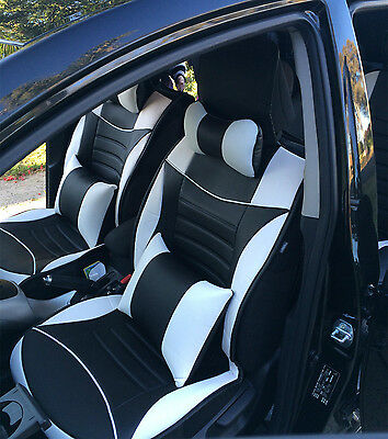 Black White leather Car Seat Covers Front Rear 5 Seats Waterproof Toyota Camry