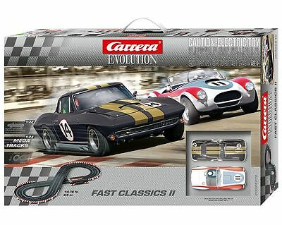 CARRERA EVOLUTION 1/32 SLOT CAR SET FAST CLASSICS II + extra track CAR25215