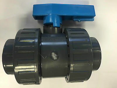 Double Union Pvc Ball Valves 16 Bar Solvent Weld Type Imperial Sizes