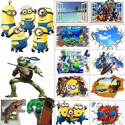 Minion Spiderman Avenger Kitchen Kids Bedroom Home Decor Decals Wall Stickers