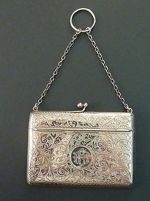 1912 Silver Foliate Engraved Unusual Opening Card Case On Chain