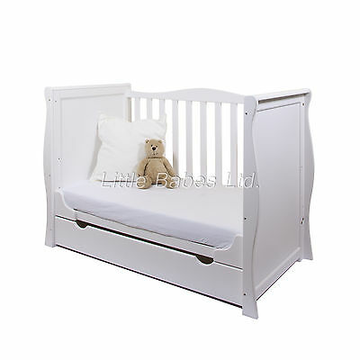 New Beautiful White Sleigh Mini Cot Bed & Drawer +- British Made Safety Mattress