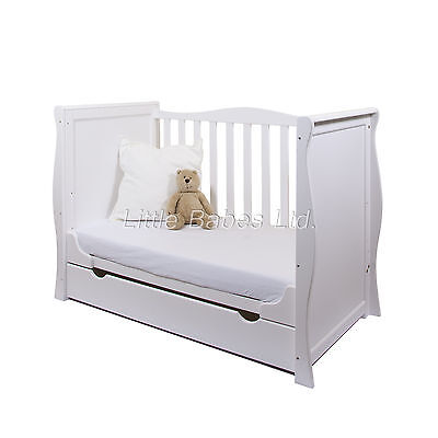 New White Sleigh Mini Cot Bed & Drawer - Optional British Made Safety Mattress