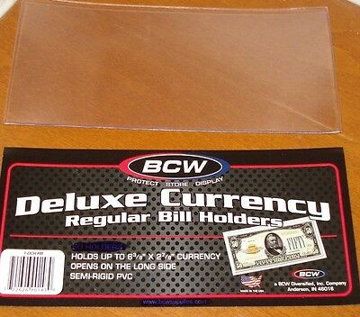 BCW Deluxe Vinyl Semi-Rigid Currency Holders SMALL MODERN REGULAR BILL SIZE