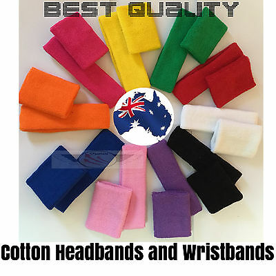 Pair of Wristbands Headbands Sweat band Sport Tennis Badminton Yoga Cotton HQ