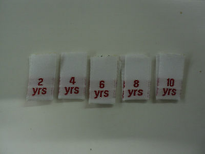 50 woven clothing labels sizes  tabs ages 2 years up to 10 years