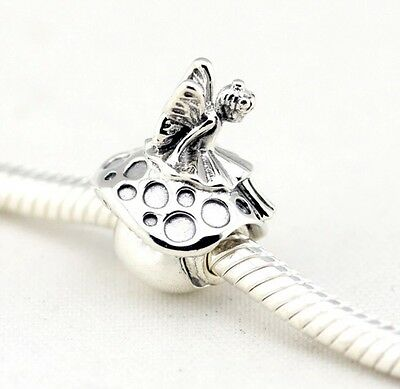 Forest Fairy On Toadstool Charm Bead For European Bracelets Silver Plated