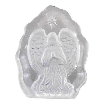 Mini Carved Clear Glass Guardian Praying Angel Ornament Plaque Gift NEW