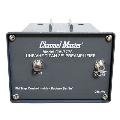 Channel Master CM-7778 Titan 2 Medium Gain Pre-Amplifier Mast Mount UHF VHF 16dB