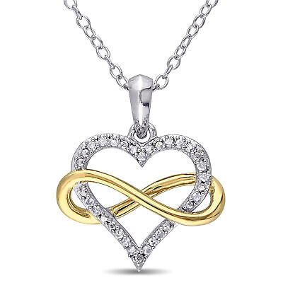 """2-Tone Sterling Silver 1/10 Ct TDW Diamond Infinity Heart Pendant Necklace 18"""""""