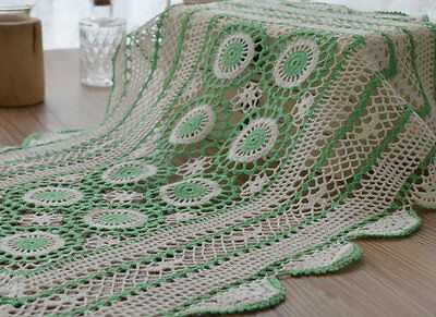 """Vintage Hand Crochet Lace Doily 23"""" Oblong Green Tray Cloth Placemat"""