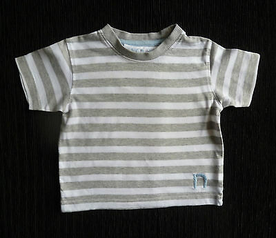 Baby clothes BOY 6-9m NEXT grey/white stripe t-shirt short sleeves SEE SHOP!