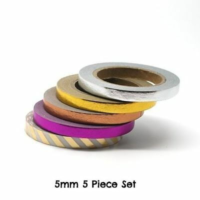 Foil Tape 5mm - 5 Piece Set 10m Thin Narrow Slim Solid Rose Gold Silver Pink